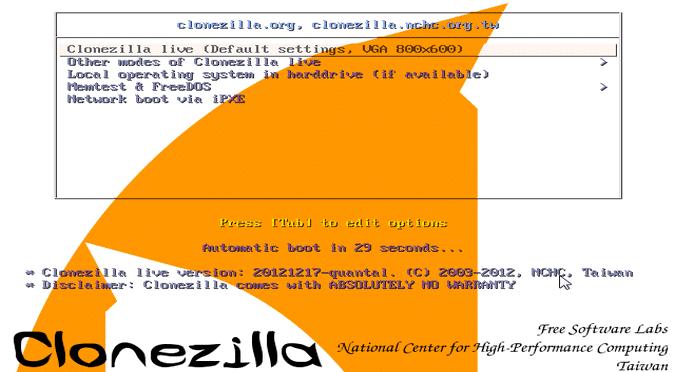 Backup sistema uz pomoć Clonezilla alata
