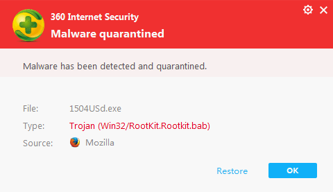 360 Internet Security - Uhvaćen virus