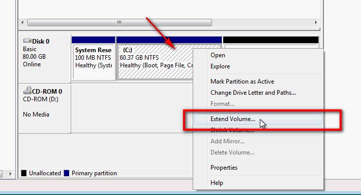 "Desni klik na najbližu particiju tome ""Unlocated"" pa kliknite ""Extend"""