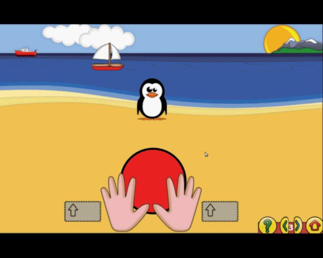 GCompris Pošaljite loptu do Pingoslava