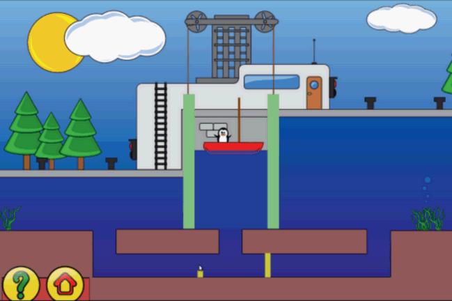 GCompris Upravljajte branom na kanalu