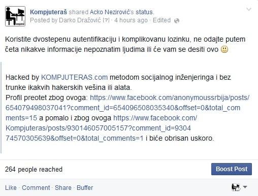 Hakovanje Fejsbuka