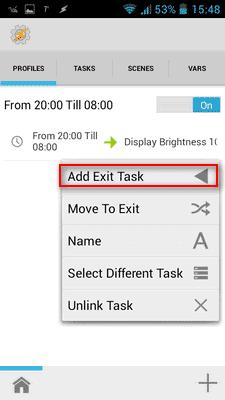Kliknite na ADD EXIT TASK. TO je task koji se aktivira kad profil prestaje da bude aktuelan (u nasem slučaju od 08-20h)