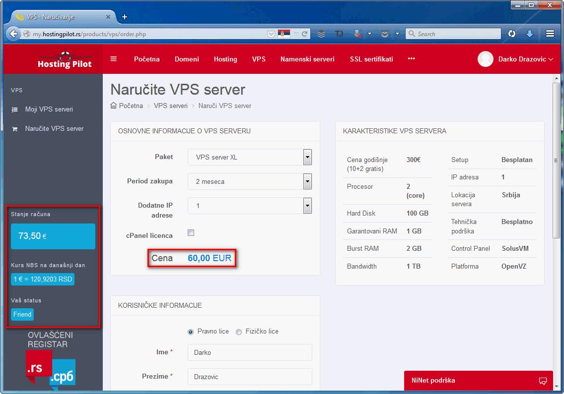 Hosting Pilot - narucivanje virtualnog servera