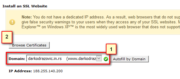 Install SSL сертифицате