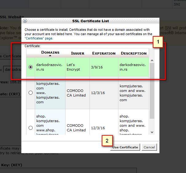 SSL sertificate list