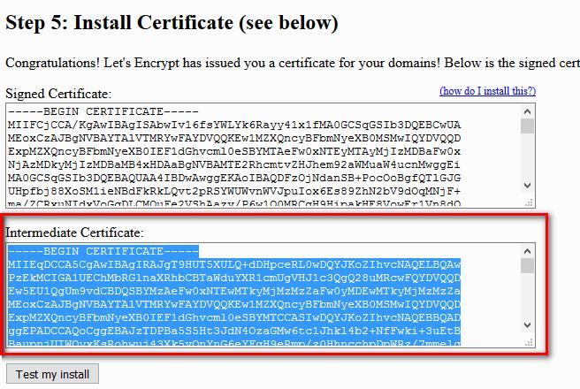 Install intermediate sertificate