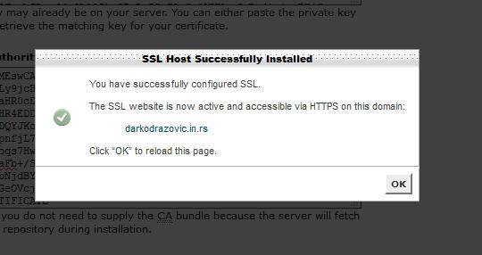 Uspesno instaliran sertifikat