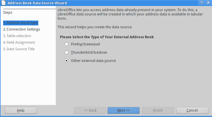 Address Book Data Source Wizard