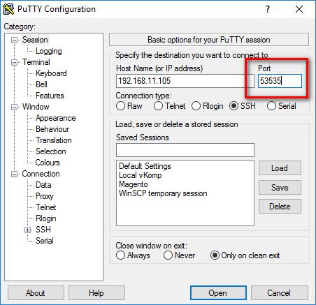 PuTTY - промењен ssh порт