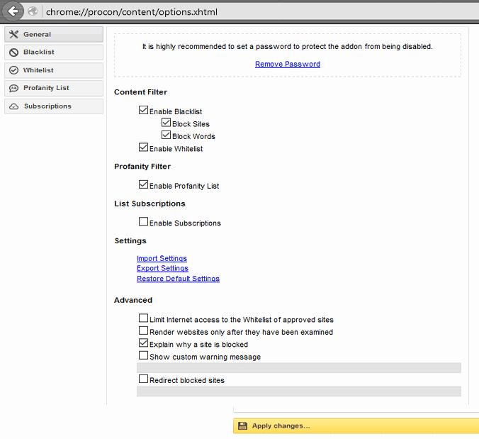 Opcije dodatka (klik za veću sliku)