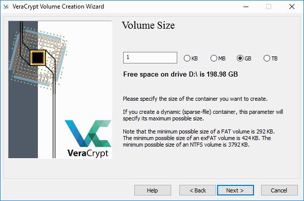 VeraCrypt - pravljenje kontejnera