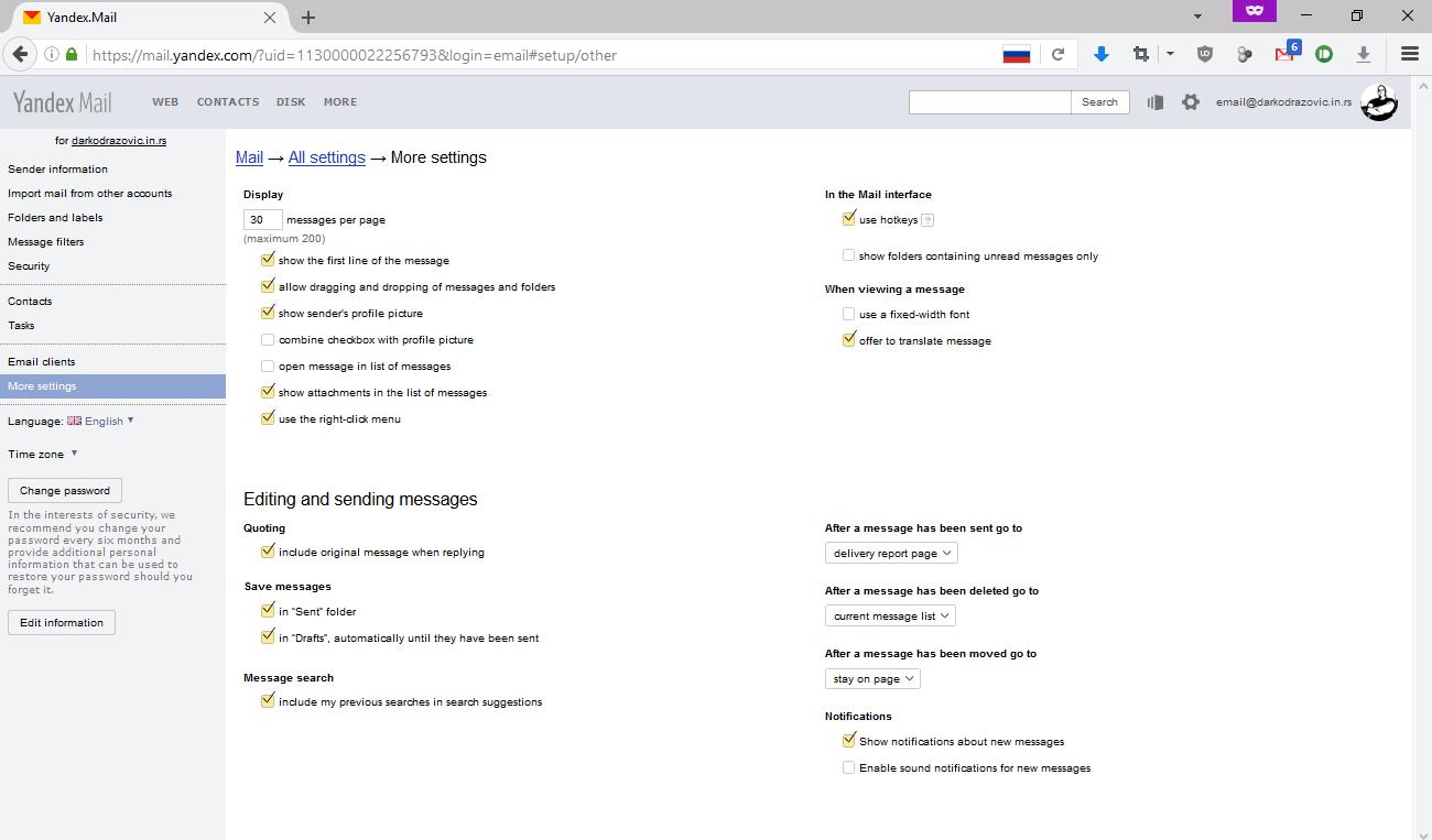 Podešavanja na nivou email naloga