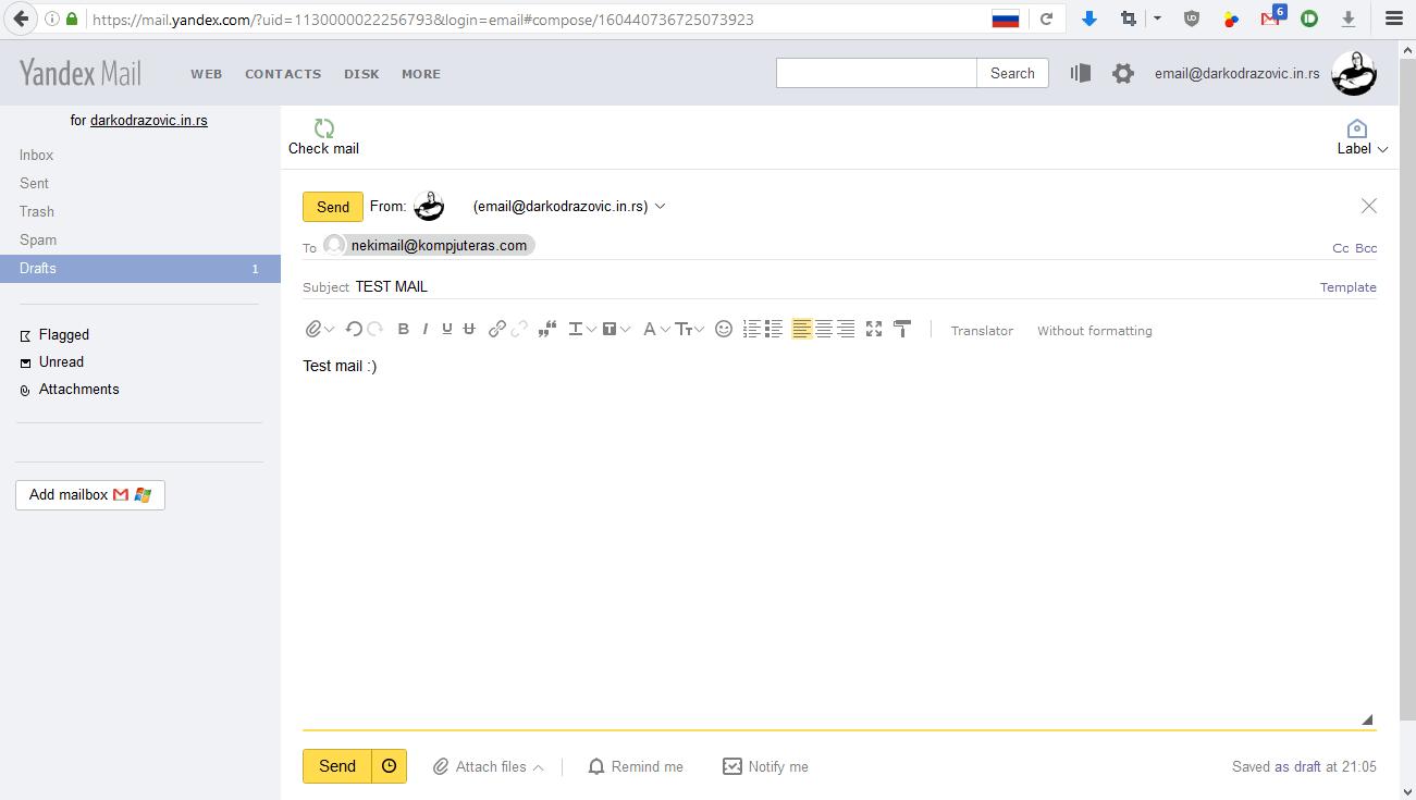 Izgled ekrana za slanje maila