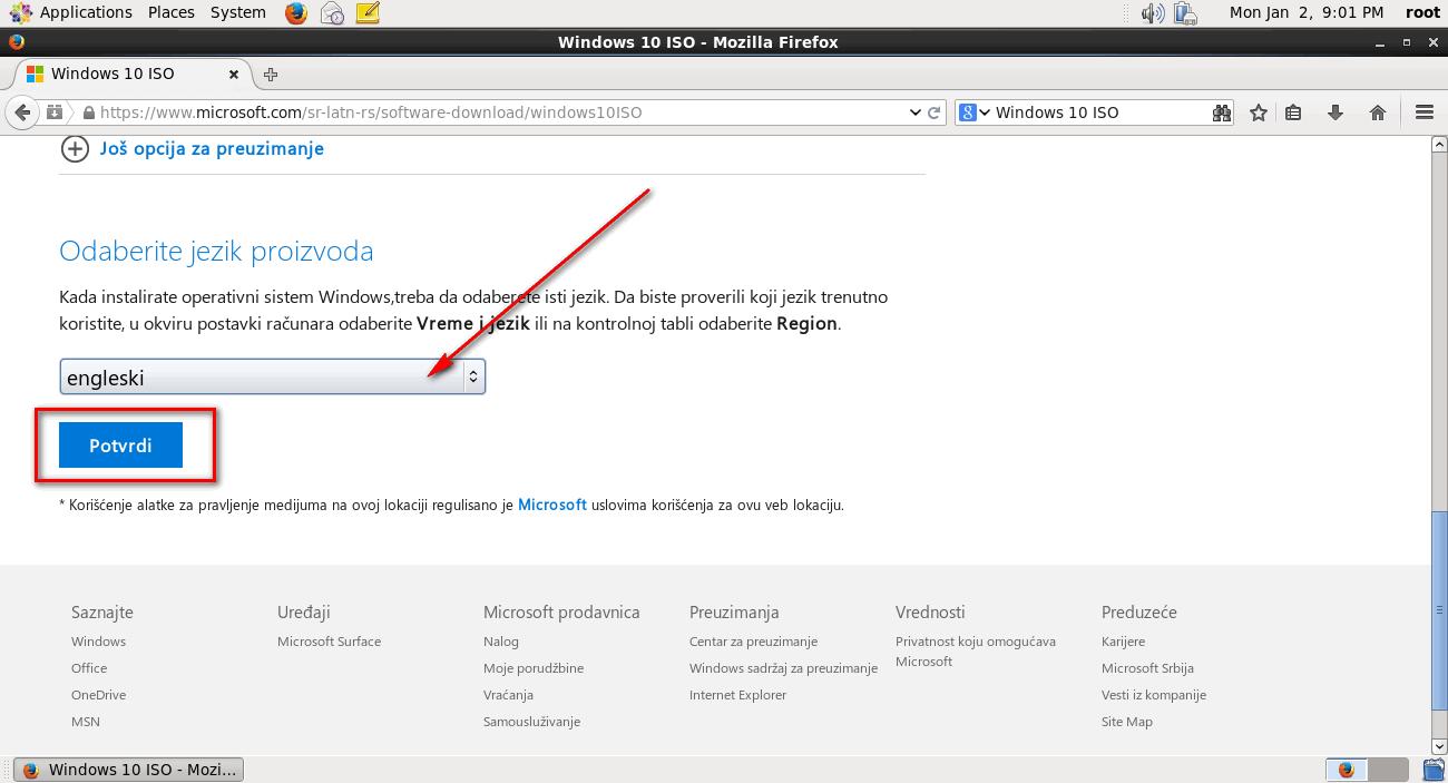 Izaberete jezik na kom želite Windows i potvrdite